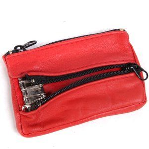 Vintage Key Holder Coin Purse Red Leather 1990s